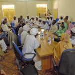 Jan Eliasson, the then Secretary-General's Special Envoy for Darfur (fourth from left at the table), in January 2007 meets internally displaced persons' representatives in the United Nations Mission in the Sudan (UNMIS) compound. ©UN Photo/Fred Noy