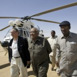Then UN Special Envoy for Darfur Jan Eliasson (left) and AU Special Envoy for Darfur Salim Ahmed Salim (center) arrive on 14 February 2007 in Um Rai for a meeting with key commanders of non-signatory rebel groups to the DPA (Darfur Peace Agreement). © UN Photo/Tim McKulka