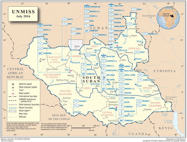 deployment map of UNMISS, United Nations Mission in the Republic of South Sudan (Map No. 4456R23, July 2016) ©UN Cartographic Information Section