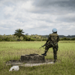 A Ghanaian peacekeeper with the UN Mission in Liberia (UNMIL). 16 November 2012 Cestos City, Liberia
